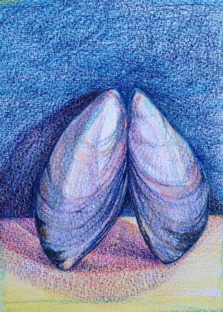 Water Soluble Crayon and Colored Pencil