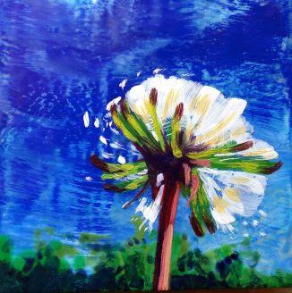 "Encaustic, oil pastel on cradled birch panel. 6"" x 6"""