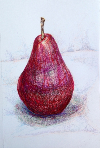 Red Pear: colored pencil