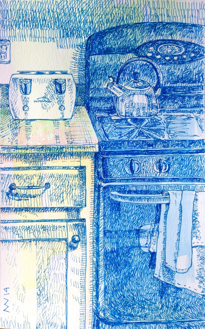 Micron blue pen and opaque watercolor