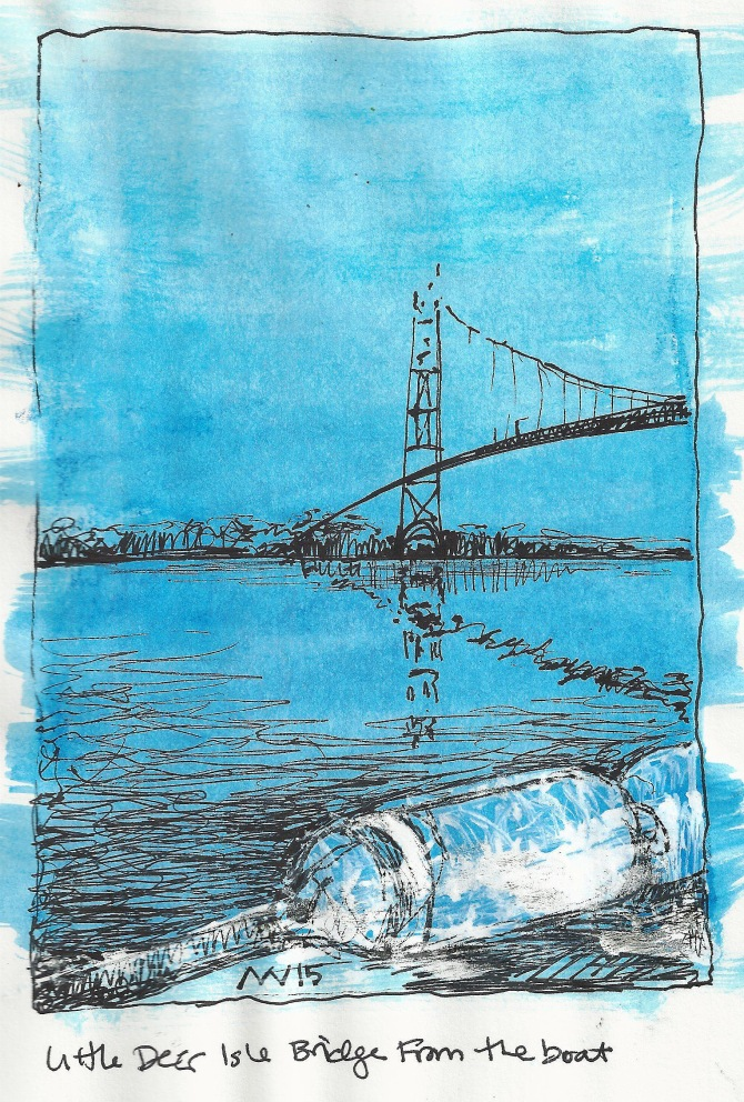 Water-soluble crayon and ink: View from the sailboat