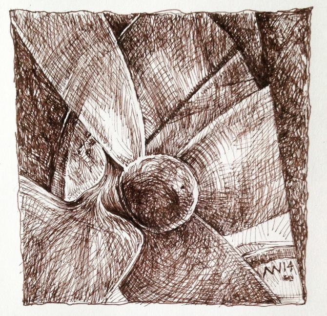 Boat propeller: sepia ink