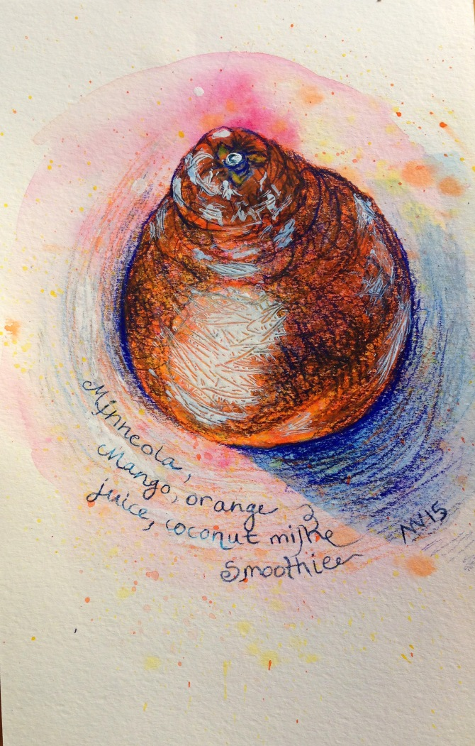 Minneola: inktense and colored pencil