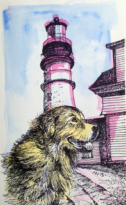 Opaque watercolor and sharpie pen. Portland Head Lighthouse