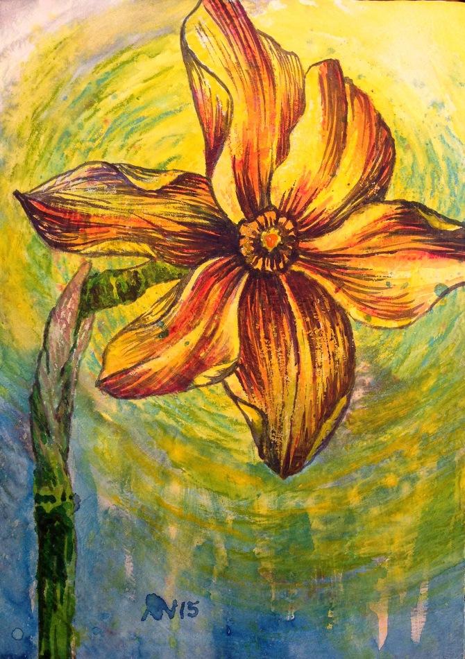 Single Daffodil. 5x7 cradled panel.