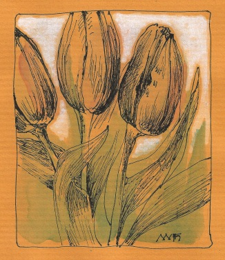 Tulips on colored paper.