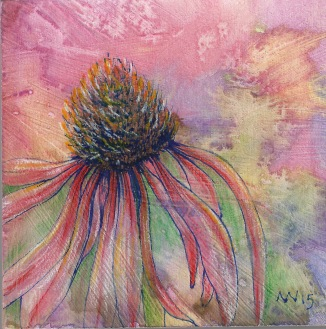 Cone Flower: 4x4 on wood panel, watercolor and colored pencil