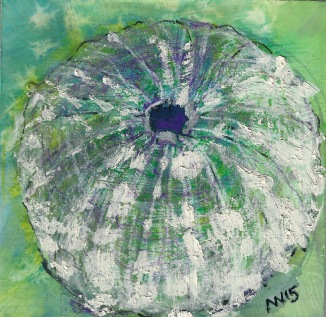 Sea Urchin: 4x4 panel, watercolor, encaustic, oil stick