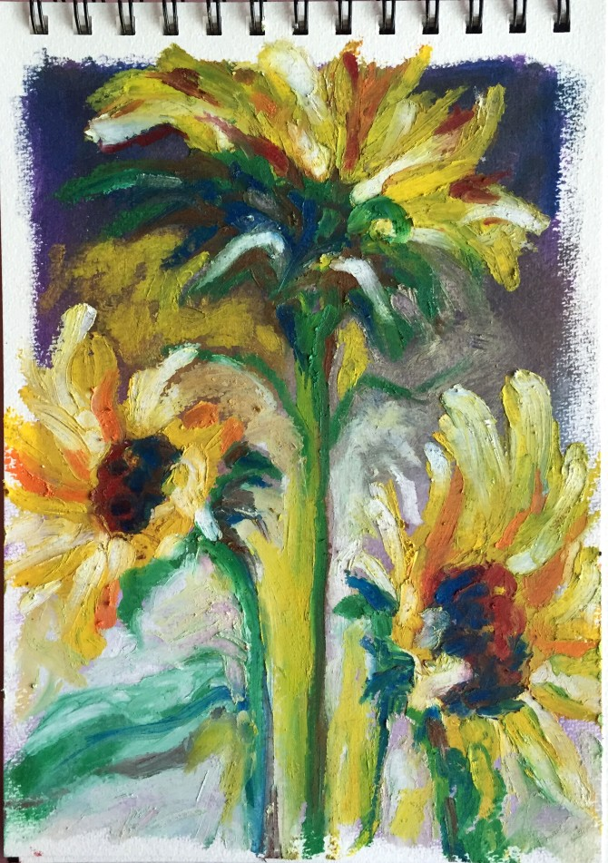Sunflower study: oil pigment sticks on paper