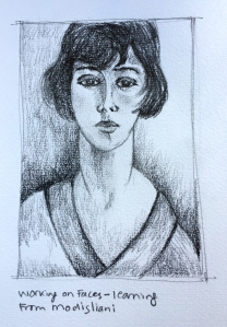 Practicing Faces: inspired by Modigliani
