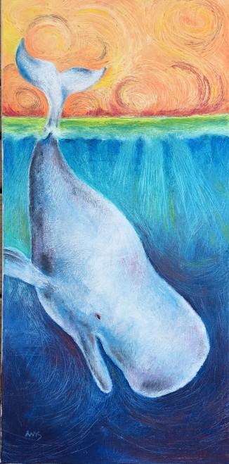 Happy Whale: oil paint stick on canvas 11 x 21